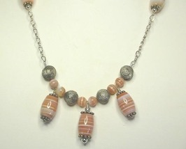 Red Sardonyx & Sterling Silver Chain Necklace & Earring Set  Ethnic - $68.99