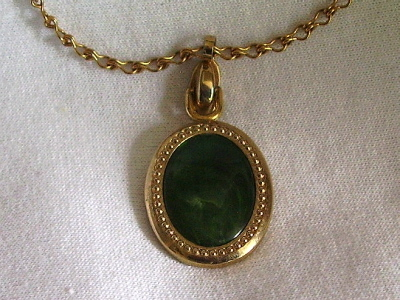 Primary image for Vintage Sarah Coventry Reversible Pendant Green Gold