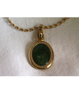 Vintage Sarah Coventry Reversible Pendant Green Gold - $4.95