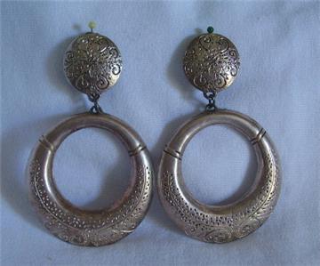 Retro 80's Silvertone Concho Large Hoop Earrings Clipon