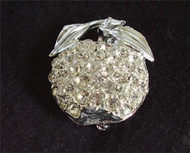 Primary image for Silver Tone Sparkling Rhinestones Apple Brooch Pin