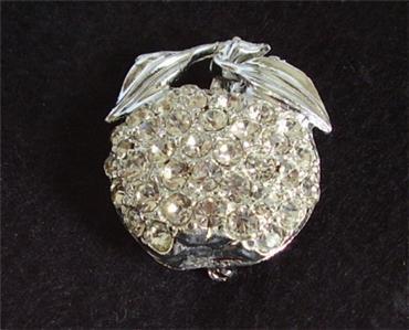 Silver Tone Sparkling Rhinestones Apple Brooch Pin