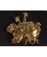 Vintage Gold Tone Noah's Ark Pin Brooch - $3.95