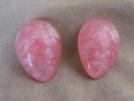 Vintage Pink Marblized Plastic Clip On Earrings - $1.95