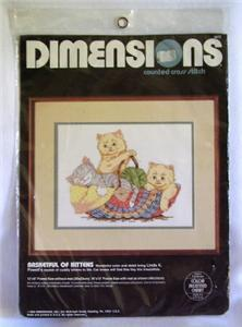 Vintage Dimensions Kittens Counted Cross Stitch Kit NIP