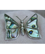 Vintage Mexico Silver Abalone Butterfly Brooch Earrings - $17.95