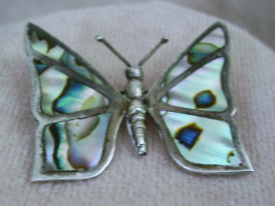 Vintage Mexico Silver Abalone Butterfly Brooch Earrings