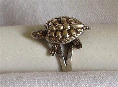 Vintage Sterling Silver Figural Turtle Ring Size 9