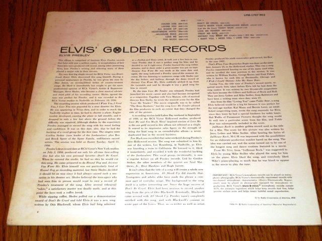 "ELVIS GOLDEN RECORDS 12"" LP  33 RPM  1964  ROCK"