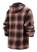 Men's Heavyweight Zip Up Fleece Plaid Sherpa Lined Brown Hoodie Jacket XL image 2