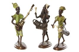 Burkina Bronze Griot with Talking Drum Sculpture Fair Trade Handmade Hom... - $184.00