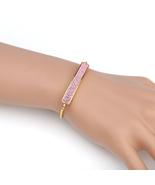 UNITED ELEGANCE Gold Tone Bolo Bar Bracelet With Pink Swarovski Style Cr... - $22.99