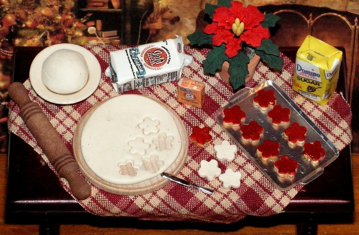 Dollhouse Miniature Artist-Made Cookie Prep Table 1/12 Scale