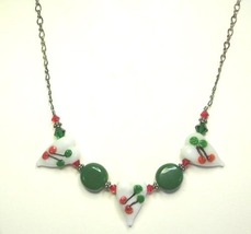 White, Red & Green Hearts Lamp Work & Sterling  Silver Necklace - $34.99