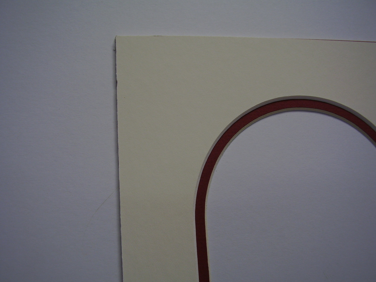 Picture Frame Arch Top Double Mat 8x10 for 5x7 photo  Cream and red
