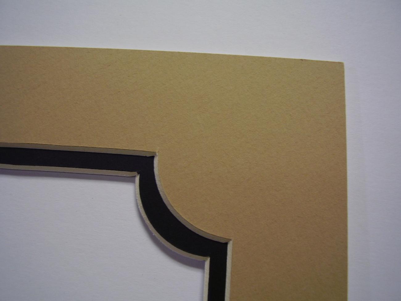 Picture Frame Classic Portrait Design Double Mat 8x10 for 5x7 photo Khaki Tan