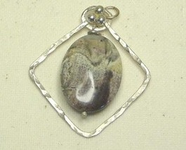 Silverleaf Jasper Framed In Argentium Sterling Pendant Handcrafted - $22.99