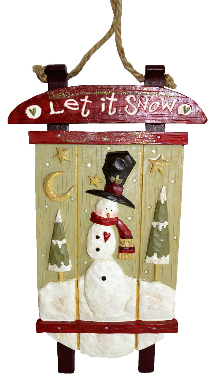 "SnowTown® Snowman Sleigh Sled Christmas Decoration -Kurt S. Adler ""Let it Snow"" - $11.95"