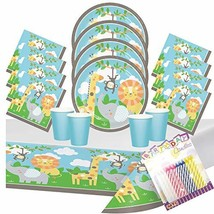 Jungle Animals Party Plates Napkins Cups and Table Cover (Serves-16) wit... - $35.18