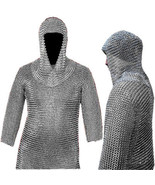 10 mm Chainmail Shirt With Coif, Large Size  Chain Mail Medieval Chainma... - $124.99