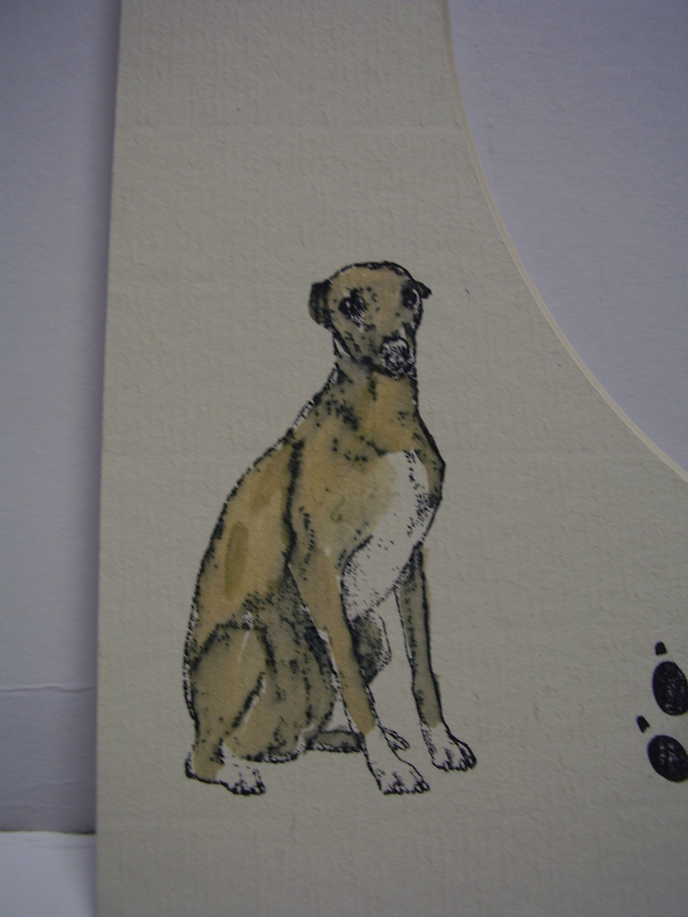 Picture Frame Mats 8x10 for 5x7 Whippet Dog hand-colored Red Fawn sighthound