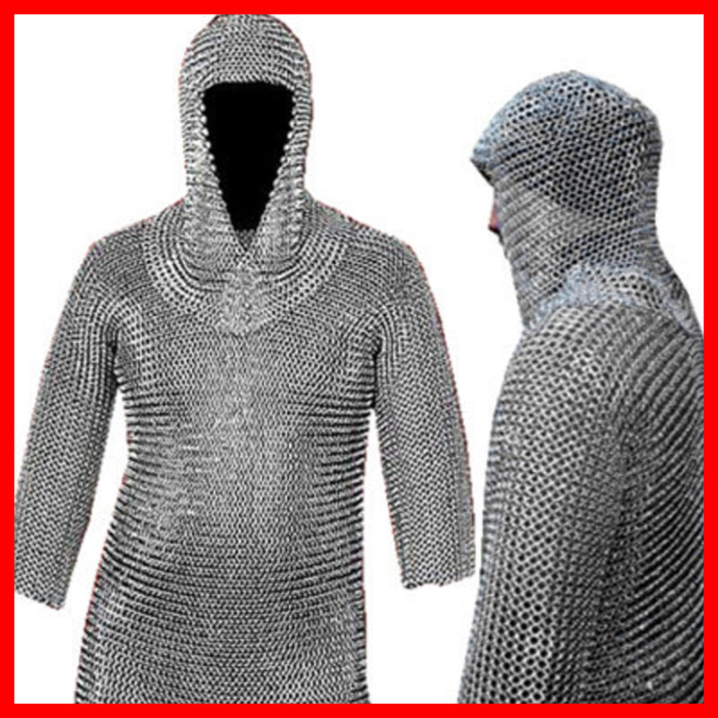 16 GAUGE CHAINMAIL CHAIN MAIL SHIRT +COIF LOTR Medieval Military Dress Xmas Gift