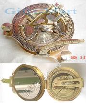 2 x MARITIME BRASS COMPASS SUNDIAL CLOCK, BRUNTON STYLE - $51.24