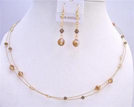 Swarovski Copper Crystals Golden Shadow Smoked Topaz TriColor Necklace - $26.38