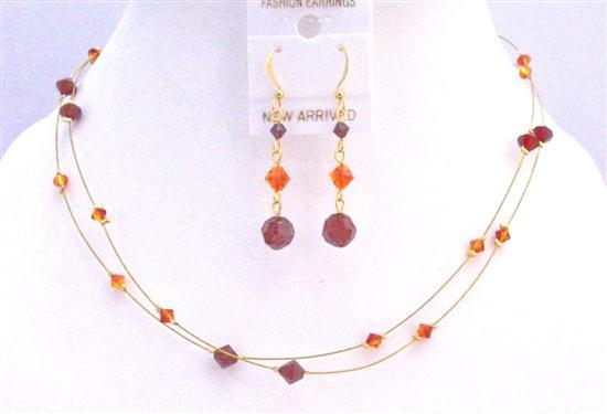 Primary image for Golden Wire Women Jewelry Siam Red Fire Opal Cool Combo Jewelry Set