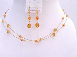 Tricolor Gold Crystals Jewelry Fire Opal Topaz Sun Crystals Bridesmaid - $26.38