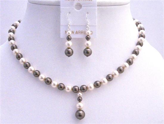 Swarovski Brown Ivory Pearls Bridal Bridesmaid Jewelry Set Drop Down