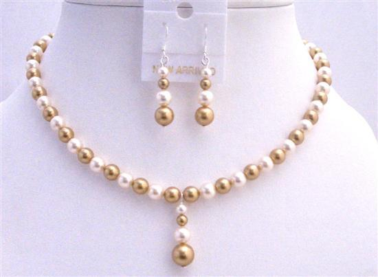 Swarovski Gold Pearls Ivory Pearls Necklace Drop Down Jewelry