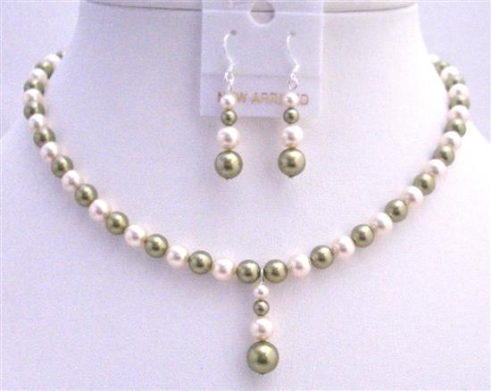 Customize Jewelry made with Green & Ivory Pearls Necklace Set & Drop D