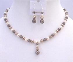 TriColor Bridal Bridesmaid Swarovski Bronze Brown Ivory Pearls Set - $34.18