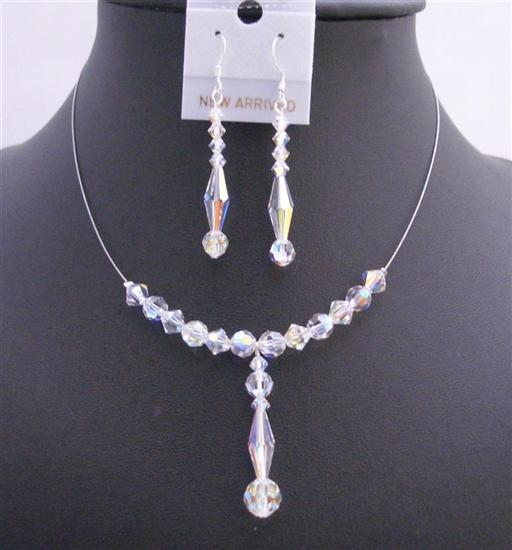 Swarovski AB Crystals Bridal Wedding Necklace Set 6mm Bicone Round