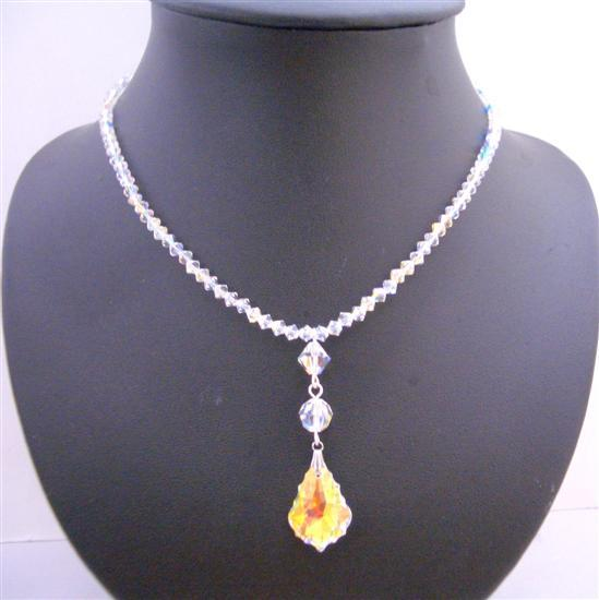 Swarovski AB Crystals w/ Briollette Pendant Necklace AB Crystals Beads