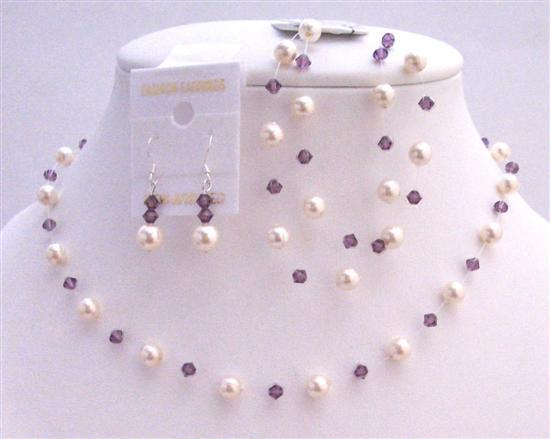 Prom Amethyst Swarovski Crystals with Ivory Pearls Jewelry Set
