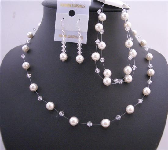 Clear Crystals White Pearls Necklace Wedding Handcrafted Jewelry Set