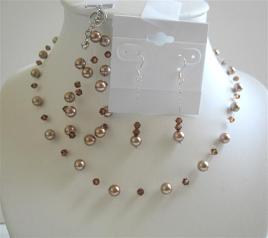 Bronze Pearls Smoked Topaz Swarovski Crystal Necklace Earrings Jewelry