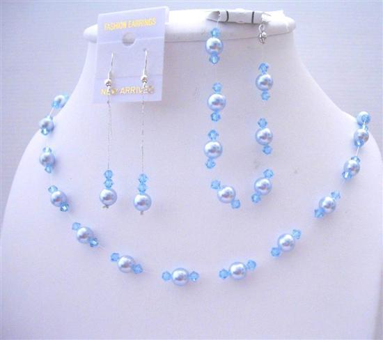 Blue Pearls Aquamarine Crystals Wedding Jewelry Swarovski Pearls Set