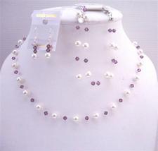 White Pearls Swarovski Amethyst Crystals Bridesmaid Affordable Jewelry - $41.33