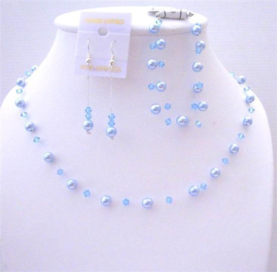 Handcrafted Custom Jewelry Swarovski Blue Pearls & Aquamarine Crystals