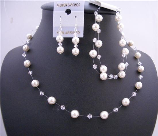 Handcrafted Custom Wedding Jewelry Set Clear Crystals w/ White Pearls