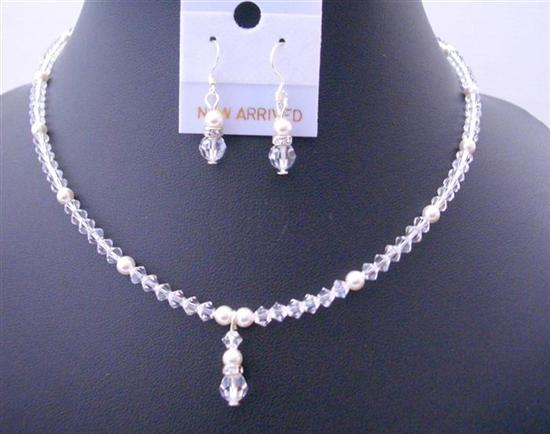 Clear Swarovski Crystals White Pearls Flower Girls Drop Down Jewelry