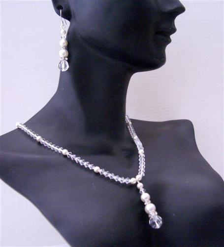 Primary image for Custom Bridal Flower Girl Swarovski Clear Crystal White Pearls Jewelry
