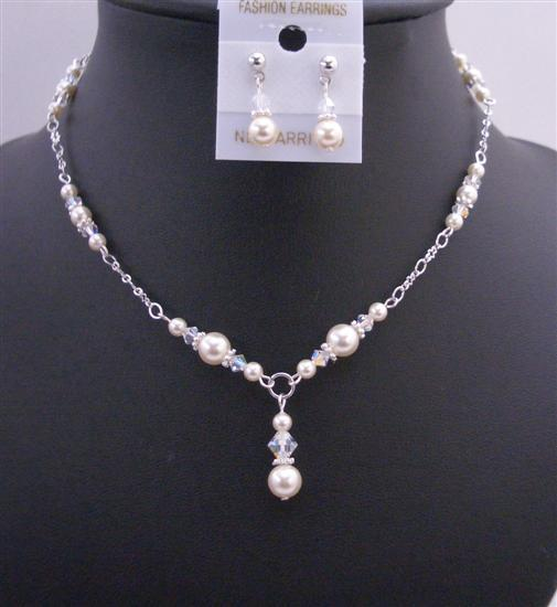 Primary image for Trendy Swarovski Ivory Pearls AB Crystals with Drop Down Necklace Set