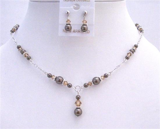 Customize Bridal Jewelry Swarovski Brown Pearls Lite Colorado Crystals