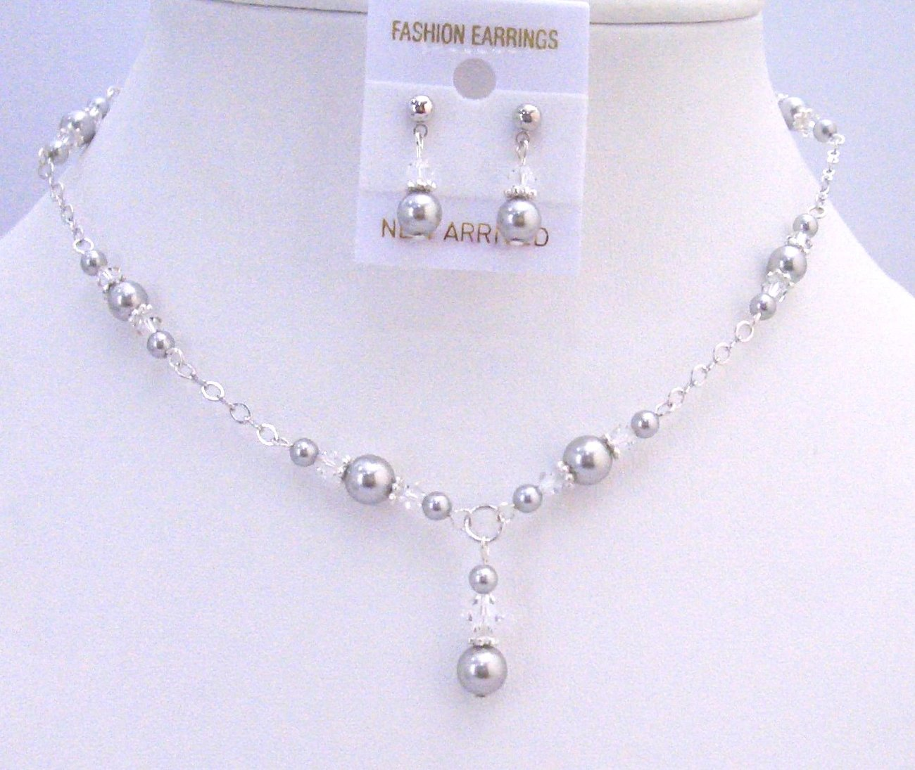 Primary image for Silver Pearls Clear Crystals Prom Bridal Bridesmaid Swarovski Jewelry