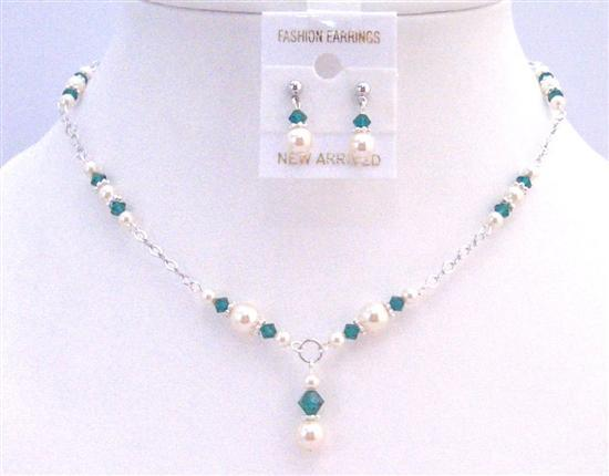 Prom Jewelry Ivory Pearls Emerald Crystals Bridal Drop Down Necklace