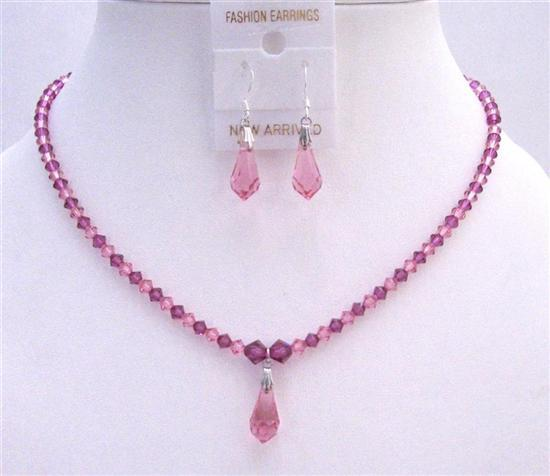 Light Pink & Dark Pink Fuchsia Crystals Bride Bridesmaid Jewelry Set